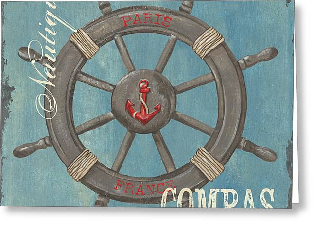 Vintage Boat Greeting Cards - La Mer Compas Greeting Card by Debbie DeWitt
