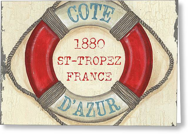 Vintage Boat Greeting Cards - La Mer Cote DAzur Greeting Card by Debbie DeWitt