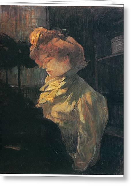 Henri De Toulouse-lautrec Paintings Greeting Cards - La Modiste Greeting Card by Henri De Toulouse-Lautrec