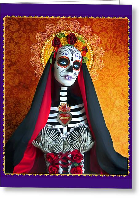 Calaveras Greeting Cards - La Muerte Greeting Card by Tammy Wetzel