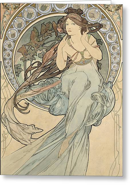Water Color Artist Greeting Cards - La Musique, 1898 Watercolour On Card Greeting Card by Alphonse Marie Mucha