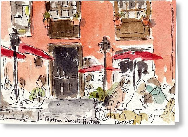 Santa Cruz Art Greeting Cards - La Palma Cafe Greeting Card by Michael Liebhaber
