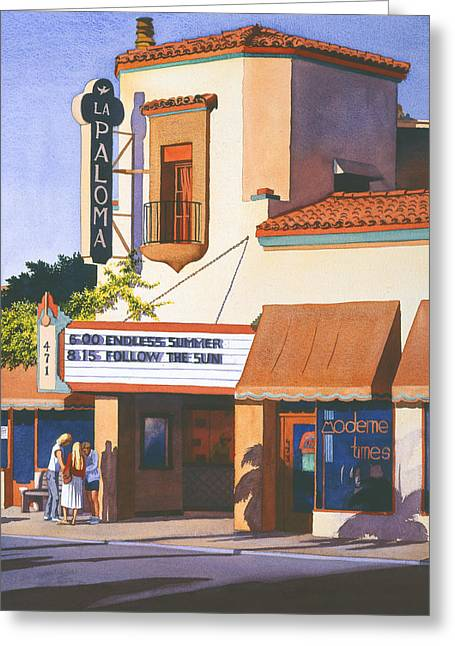 Theatres Greeting Cards - La Paloma Theater in Encinitas Greeting Card by Mary Helmreich