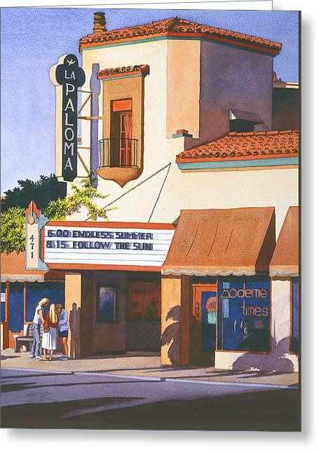 La Paloma Theater In Encinitas Greeting Card by Mary Helmreich