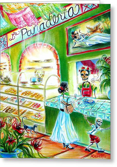 Pan Cakes Greeting Cards - La Panaderia Greeting Card by Heather Calderon
