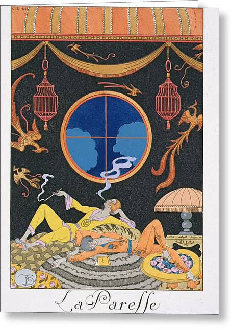 Decadence Greeting Cards - La Paresse Greeting Card by Georges Barbier