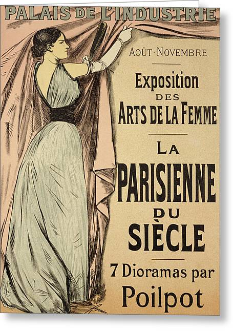 Texting Drawings Greeting Cards - La Parisienne du Siecle Greeting Card by Jean Louis Forain