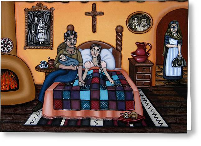 Hispanic Artists Greeting Cards - La Partera or The Midwife Greeting Card by Victoria De Almeida