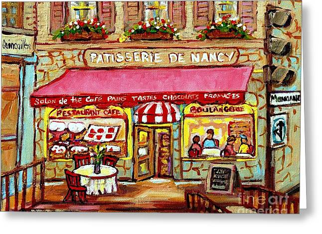 French Open Paintings Greeting Cards - La Patisserie De Nancy French Pastry Boulangerie Paris Style Sidewalk Cafe Paintings Cityscene Art C Greeting Card by Carole Spandau