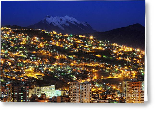 La Paz Greeting Cards - La Paz and Illimani Greeting Card by Colin Woods