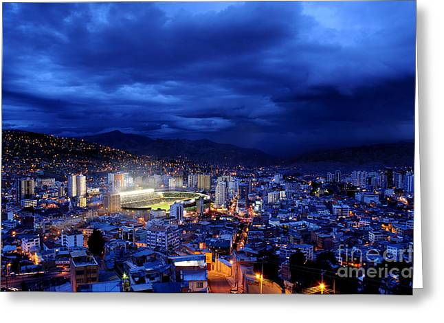 La Paz Greeting Cards - La Paz Bolivia at Night Greeting Card by Colin Woods