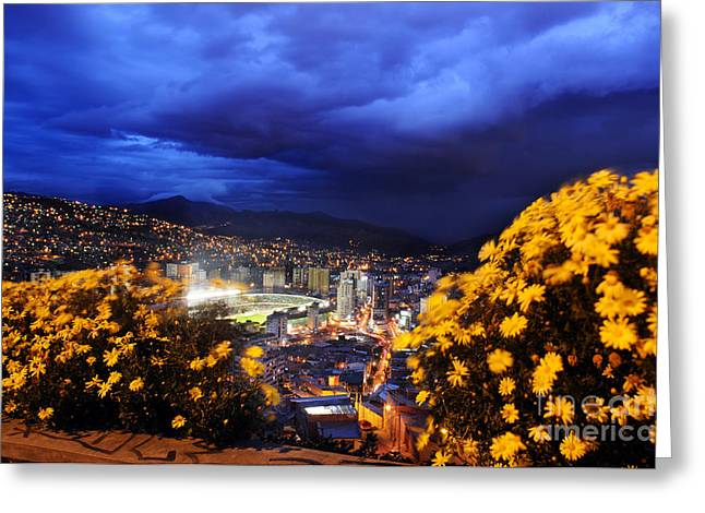 La Paz Greeting Cards - La Paz Bolivia by Night Greeting Card by Colin Woods