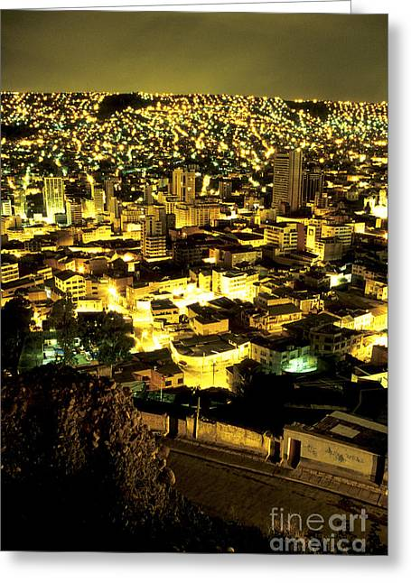 Architectur Greeting Cards - La Paz cityscape Bolivia Greeting Card by Ryan Fox