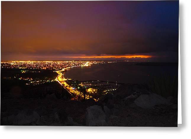 La Paz Malecon Greeting Card by Carlos Apperti
