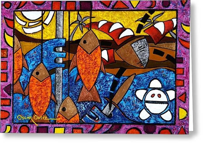 Recently Sold -  - Decorative Fish Greeting Cards - La pesca virgen de un hombre honrado Greeting Card by Oscar Ortiz