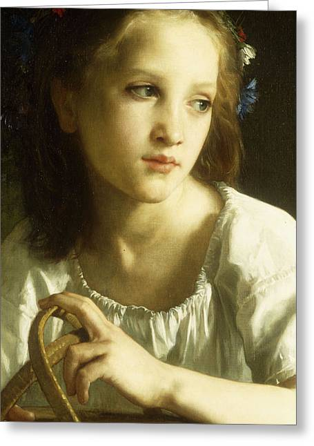 Innocence Paintings Greeting Cards - La Petite Ophelie Greeting Card by William Adolphe Bouguereau