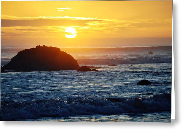 Coast Highway One Greeting Cards - La Piedra Boulder Sunset Malibu Landscape Greeting Card by Kyle Hanson