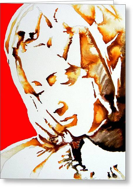La Pieta Face Greeting Card by Jose Espinoza
