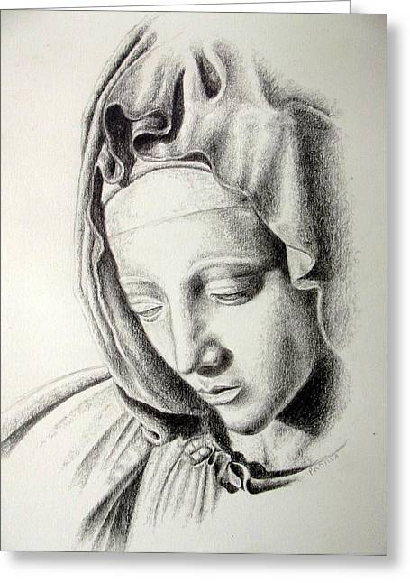 Sacred Drawings Greeting Cards - La Pieta Madonna Greeting Card by Heather Calderon