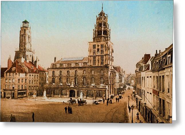 Ecru And Brown Greeting Cards - La Place dArmes Greeting Card by John K Woodruff