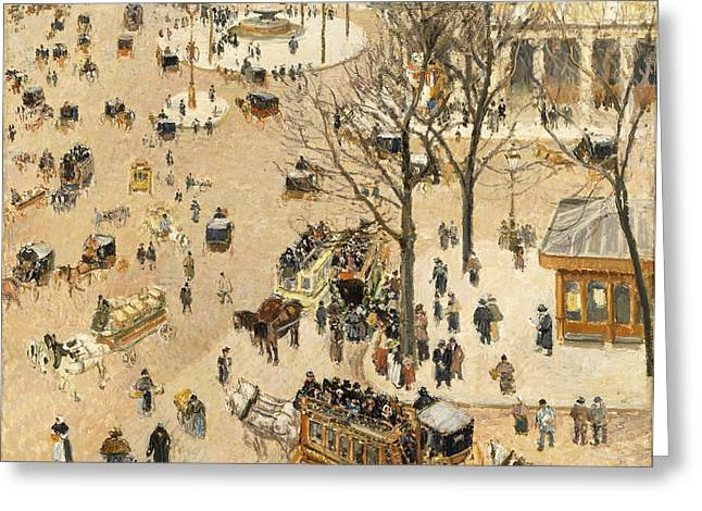 Camille Pissarro Greeting Cards - La Place due Theatre Francais Greeting Card by Camille Pissarro