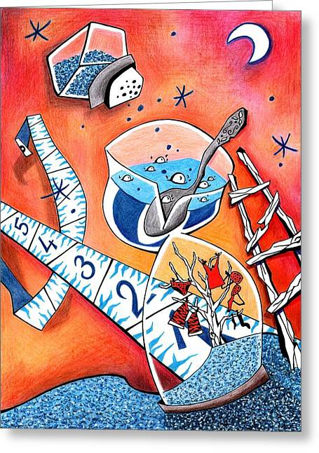 Illustrazione Greeting Cards - La PoCima del OLviDo - Amor de Verano - Reloj de Arena Greeting Card by Arte Venezia