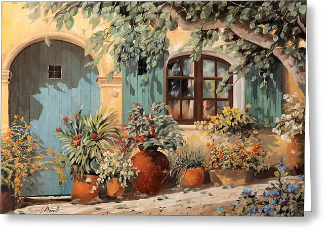 Blue Shadows Greeting Cards - La Porta Azzurra Greeting Card by Guido Borelli