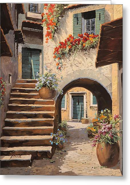 Courtyard Greeting Cards - La Porta Dopo Larco Greeting Card by Guido Borelli