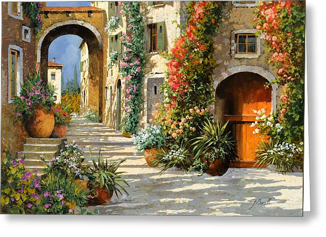 Landscape. Scenic Paintings Greeting Cards - La Porta Rossa Sulla Salita Greeting Card by Guido Borelli