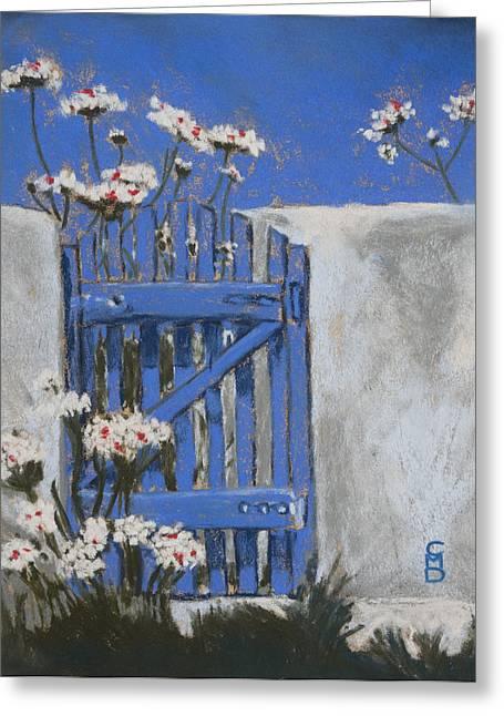France Doors Pastels Greeting Cards - La Porte Bleue Greeting Card by Cristel Mol-Dellepoort