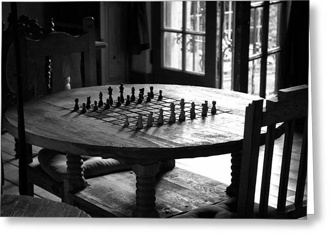 Chess Greeting Cards - La Posada Game Room Greeting Card by John Nelson