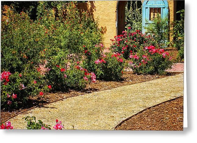 La Posada Gardens in Winslow Arizona Greeting Card by Priscilla Burgers