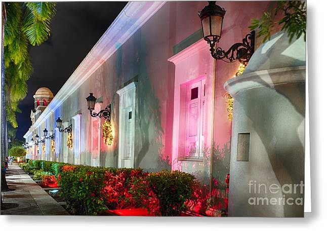 Paseo La Princesa De San Juan Greeting Cards - La Princesa Building at Night Greeting Card by George Oze