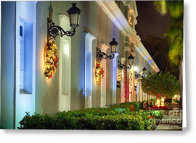 Old San Juan Greeting Cards - Old San Juan Holiday Impression I Greeting Card by George Oze