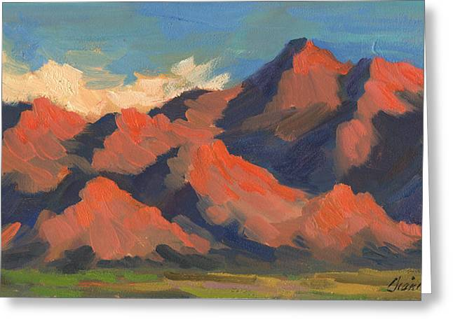 Light And Shadow Greeting Cards - La Quinta Mountains Morning Greeting Card by Diane McClary