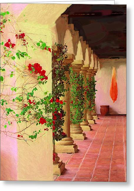 Spring Pastels Greeting Cards - La Quinta Peristyle Greeting Card by Viktor Savchenko