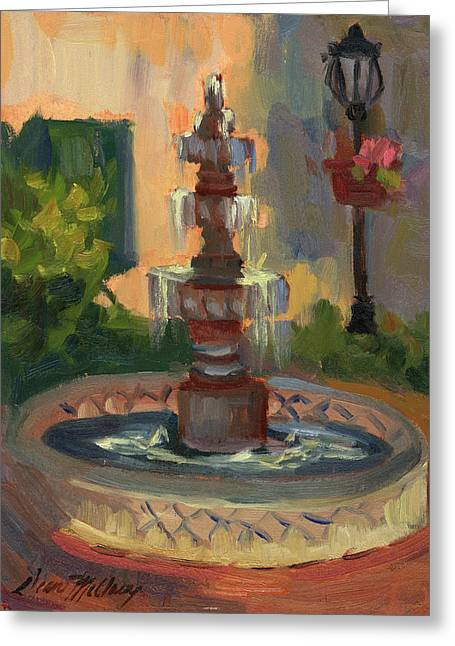 Hiking Paintings Greeting Cards - La Quinta Resort Fountain Greeting Card by Diane McClary