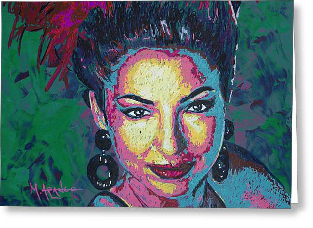 Machine Paintings Greeting Cards - La Reina de Miami Greeting Card by Maria Arango