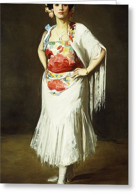 Camera Paintings Greeting Cards - La Reina Mora Greeting Card by Robert Henri