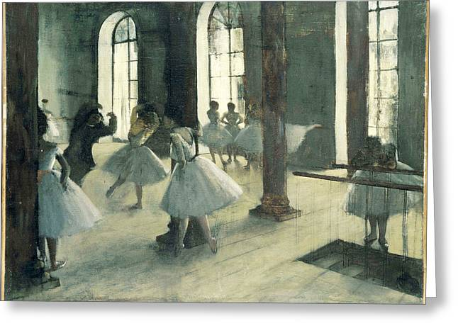 La Repetition Au Foyer De La Danse Greeting Card by Edgar Degas