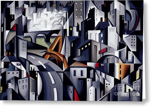 Gotham City Paintings Greeting Cards - La Rive Gauche Greeting Card by Catherine Abel