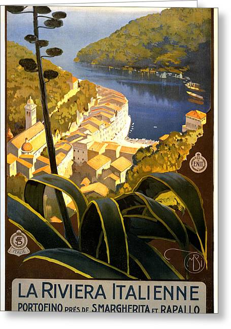 Portofino Italy Art Greeting Cards - La Riviera Italienne Greeting Card by Nomad Art And  Design