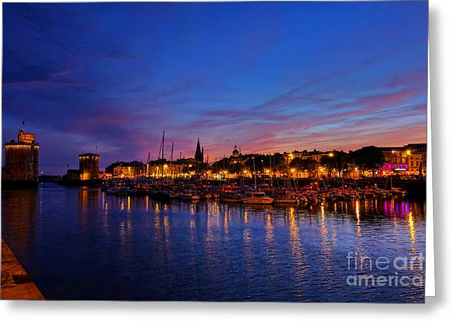 Spectacular Greeting Cards - La Rochelle Night Greeting Card by Olivier Le Queinec