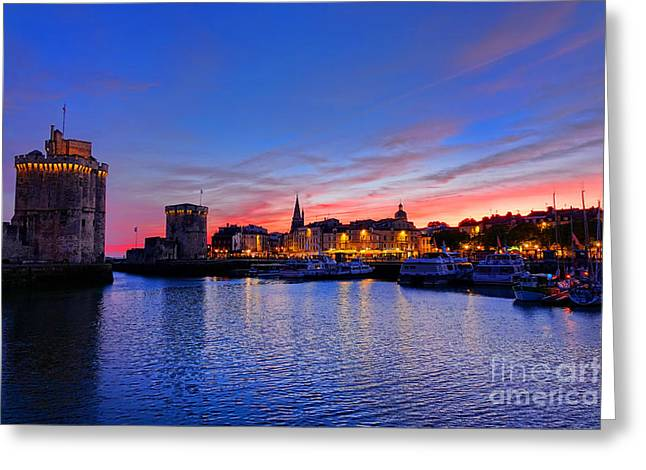 Marina Night Greeting Cards - La Rochelle Port at Dusk in France  Greeting Card by Olivier Le Queinec