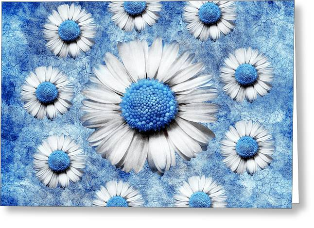 Blue Flowers Digital Art Greeting Cards - La Ronde Des Marguerites - Blue v05 Greeting Card by Variance Collections
