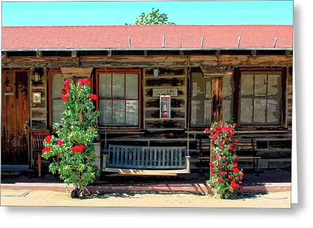 Pioneertown Greeting Cards - LA ROSA MOTEL Pioneer Town Greeting Card by William Dey