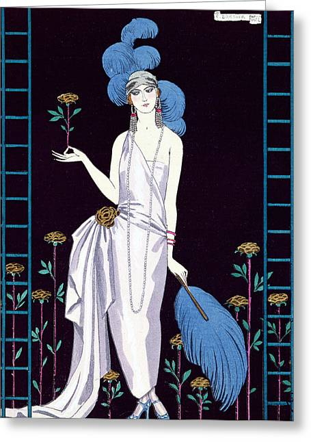 Twenties Greeting Cards - La Roseraie fashion design for an evening dress by the House of Worth Greeting Card by Georges Barbier
