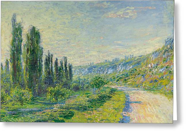 Vetheuil Greeting Cards - La Route de Vetheuil Greeting Card by Claude Monet