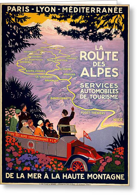Old Town Digital Art Greeting Cards - La Route des Alpes Greeting Card by Nomad Art And  Design