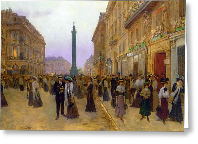 Paix Greeting Cards - La Rue de la Paix Greeting Card by Jean Beraud